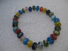 "Venetian Glass Beaded Bracelet,  Multi-Colors, 8mm wide, 7.5"""