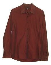 Kenneth Cole Mens Maroon Striped 100% Cotton Long Sleeve Button Down Shirt Small