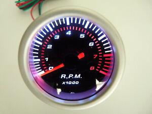 """2"""" tachometer 8000 RPM 12 volt Back Lit Smoke Lens 4, 6, 8 cylinder gasoline"""