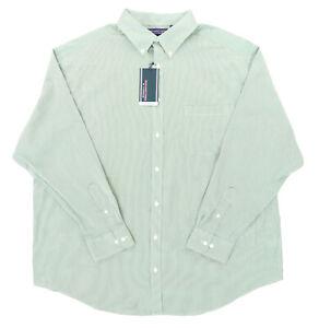 "Roundtree & Yorke Performance Men 2XB 57"" L/S Button Shirt Green Checks Plaid"
