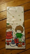 Vintage Christmas Children Gifts Ornaments Holly Rectangle Disposable Tablecloth