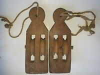 WEAVING LOOM PULLEY ANTIQUE OLD HAND MADE PRIMITIVE WOODEN CARVED ITEM 1800s