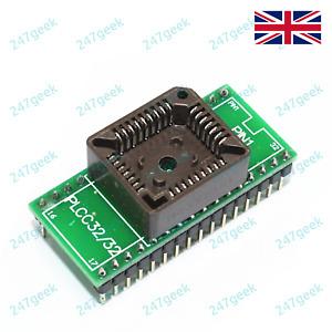 🇬🇧 PLCC32 socket DIP32 Universal Programmer Adapter IC Converter DIL DIP ZIF