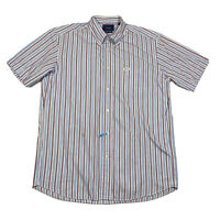 Faconnable Classique Mens XL Multicolor Striped Short Sleeve Button Down