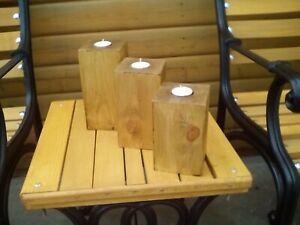 Rustic Wooden Tea Light Candle Holders Redwood Handmade In UK Set Of 3 free/pp