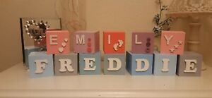 ❤ Wooden capital letter name Blocks. Large 7cm size, any colour, personalised ❤