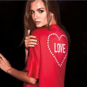 Victoria Secret Womens One Size Red Heart Love Flounce Ruffle Robe Lingerie Top
