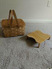 Peterboro Pie Basket W/2 Handles, Hinged Top, Shelf Insert, 13x11.5x8