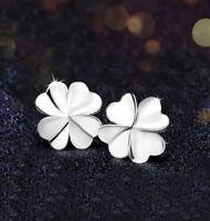 Ohrstecker Ohrring vierblättriges Kleeblatt Glücksbringer Sterling Silber 925