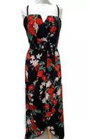 City Chic Evans Dress - Sleeveless Long Maxi Dress Black Floral UK 18-20 Strappy