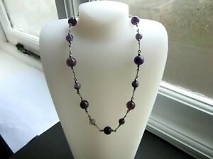 Beautiful Stunning Vintage 925 Sterling Silver Natural Amethyst Beaded Necklace