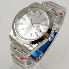 40mm bliger sterile silver dial solid case sapphire glass automatic mens watch