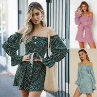 Womens Off Shoulder Long Sleeve Polka Dot Dress Ladies Summer Holiday Sundress