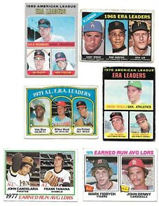 Lot Of 6 ERA Leaders Topps#207-92-7-67-221-68~PALMER~KOUFAX~1966-78