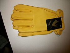 NO2 GRADE LADIES YELLOW (NATURAL) DEER SKIN LEATHER GLOVES BIKE WOMENS SECONDS