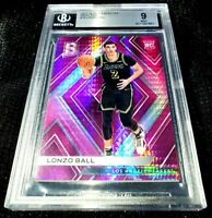 LONZO BALL 17-18 SPECTRA NEON PINK PRIZM PARALLEL ROOKIE RC PELICANS 6/25 BGS 9
