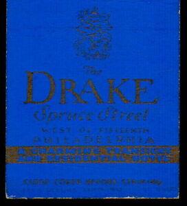PHILADELPHIA PA Drake Hotel Spruce St Vintage Match Book Cover Old Advertising