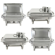 4 Pack Premier Chafers Stainless Steel Chafing Dish 8 Qt. Full Size Buffet Trays