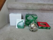 VINTAGE 1990 Wallace Silverplate Sleigh Bell Christmas Ornament & Packaging 2.5""