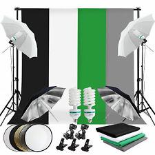 Photo Studio Continuou Lighting Kit Umbrella Backdrop Background Light Stand Set
