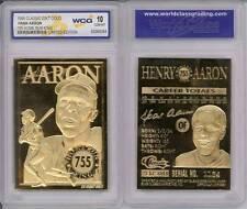 HANK AARON 755 Home Run King 1996 Sculptured 23KT Gold Card - Graded GEM MINT 10