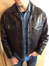 LEVIS Trucker Giacca Di Pelle Giacca di pelle leather jacket nero black culto USA XL