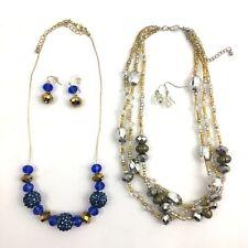 Fireball Beaded Necklace Earrings Set Lot Blue Gold Silver Tone Beads Dangle
