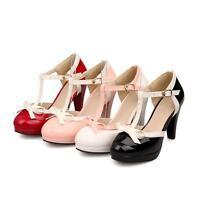 Women's High Heel Bowknot Pumps Lolita T-Strap Buckle Mary Jane Shoes Plus Size