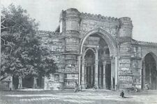 India, Ahmedabad, Portal of the great mosque......Antique  Engraving  1883