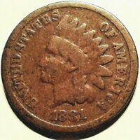 1881 Indian Head Cent / U.S. Vintage Type Coin