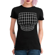 Optical Illusion Boobs Funny Black T-Shirt, All Sizes