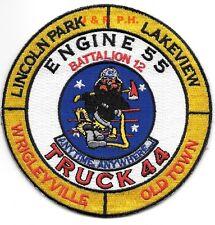 "Chicago  Engine-55 / Tr-44  ""Wrigleyville"", IL (4"" round size) fire patch"