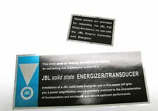 JBL Paragon solid state ENERGIZER / TRANSDUCER Decal set NEW!