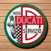 Ducati Service Sign Vintage Circular Retro Plate Sign Wall Art Decor 11.8 x 11.8