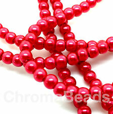 3mm Glass Faux Pearls strand - Scarlet (230+ beads) jewellery making, craft, red