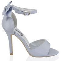 Womens Stiletto Heel Ankle Strap Ladies White Ivory Bridal Peeptoe Sandals Shoes