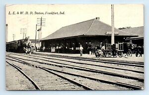 Frankfort, IN Postcard- L.E & W.  Railroad Station - Train Depot - posted
