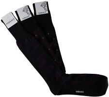 NWT VERSACE SOCKS 3 PAIRS LOT cotton wool Greca blue brown purple Italy 12
