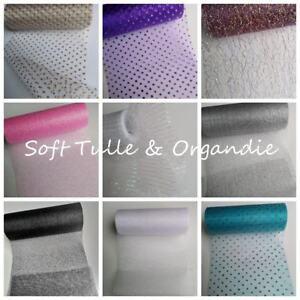 "Glitter Metallic Hologram Iridescent Soft Tulle / Organdie Craft Fabric 6""Width"
