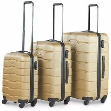 VonHaus Luggage Set of 3 ABS Lightweight Hard Shell Suitcase - 4 Wheel 360° SP Champagne