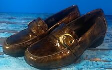 7fb0b4bfa380 ARAVON Helena Bronze-Brown Patent Leather Office Slip-on Shoes 7.5EE (a17
