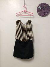 Ladies dress TRIXXI size large black tan striped top solid bottom sexy new 100