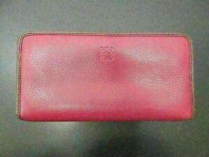 Authentic LOEWE Zip Around Long Wallet Leather Red purple Good 81798