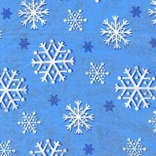 Michael Miller Snowfall blue snowflake Fabric, frozen. metallic. glitter. per FQ