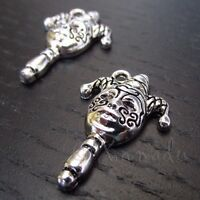 Mardi Gras Jester Mask 25mm Antiqued Silver Plated Charms C3845 - 2, 5 Or 10PCs