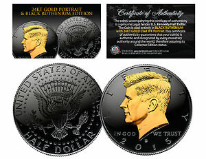 Black RUTHENIUM & 24KT Gold Clad 2015 JFK Kennedy Half Dollar U.S. Coin - D Mint