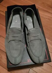 NIB $695 ISAIA gray Lightweight Soft Nappa Suede Loafers 10 (Eu 43) Shoes