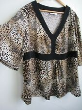 2X Womens Black Leopard Blouse Stretch Top 22W 24W V-neck 3/4 Bell Sleeve CATO
