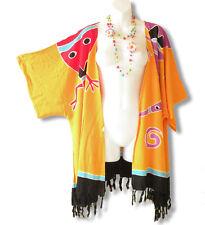 Cb224 Orange Gecko Plus Cardigan Duster Jacket Kimono Cover up - 2X, 3X, 4X & 5X