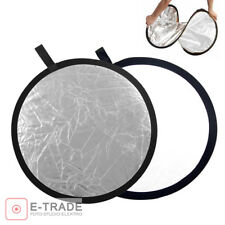 """60cm (23.5"""") 2-in-1 Collapsible Round Disc Studio Light Reflector Silver & White"""
